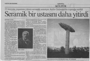 Seramik Bir Ustasını Daha Yitirdi - Cumhuriyet 26.05.1994